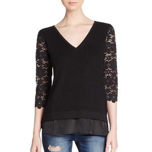 Ella Moss Lace Sleeve Sweater